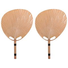 Mint Pair of Uchiwa Wall Lamps by Ingo Maurer, Germany, 1970s