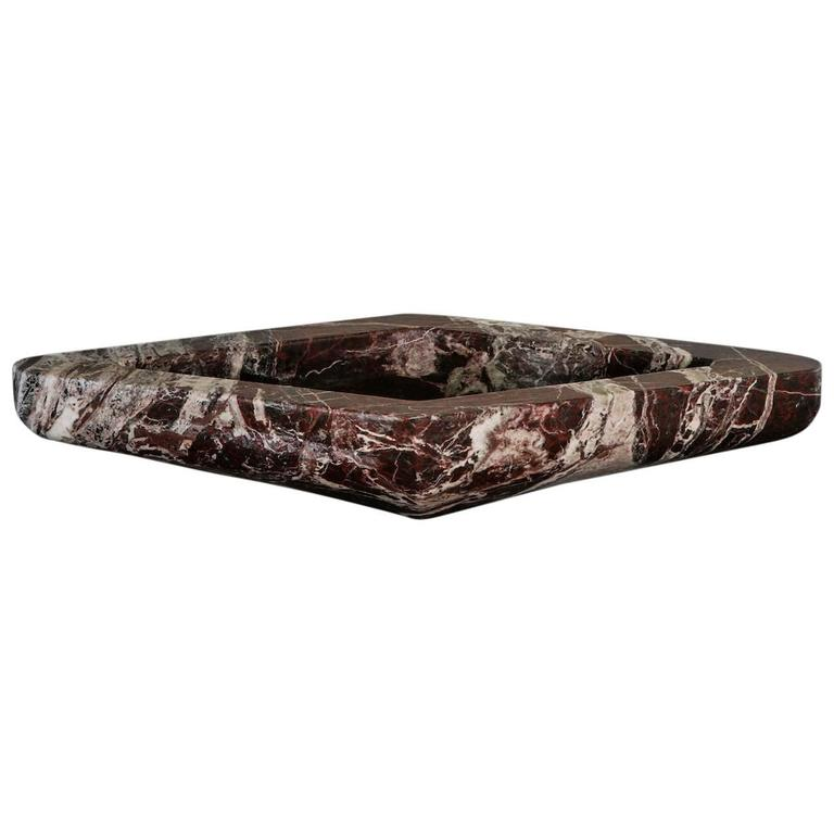 Beautiful Tray in Rosso Levanto Marble For Sale