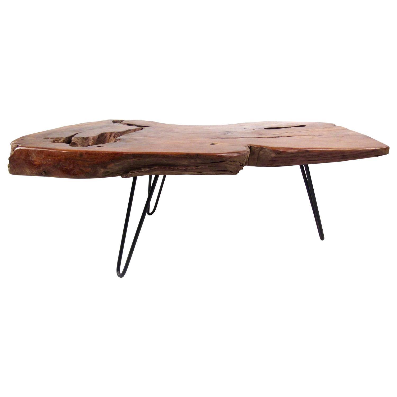 Rustic Vintage Tree Slab Coffee Table For Sale At Stdibs: Rustic Modern Free Edge Tree Slab Coffee Table On Hairpin