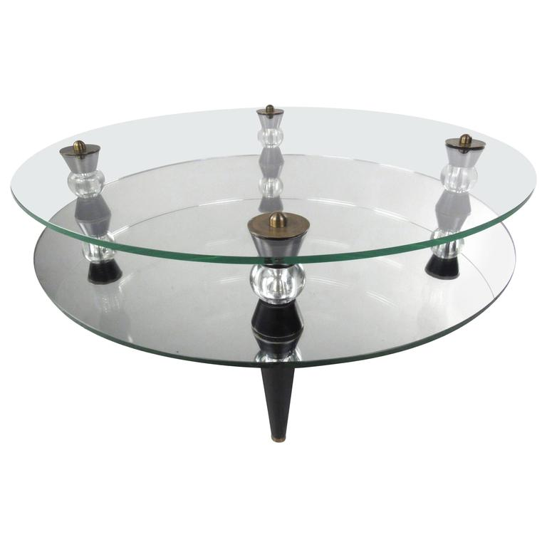 Contemporary Modern Two-Tier Mirror And Glass Coffee Table
