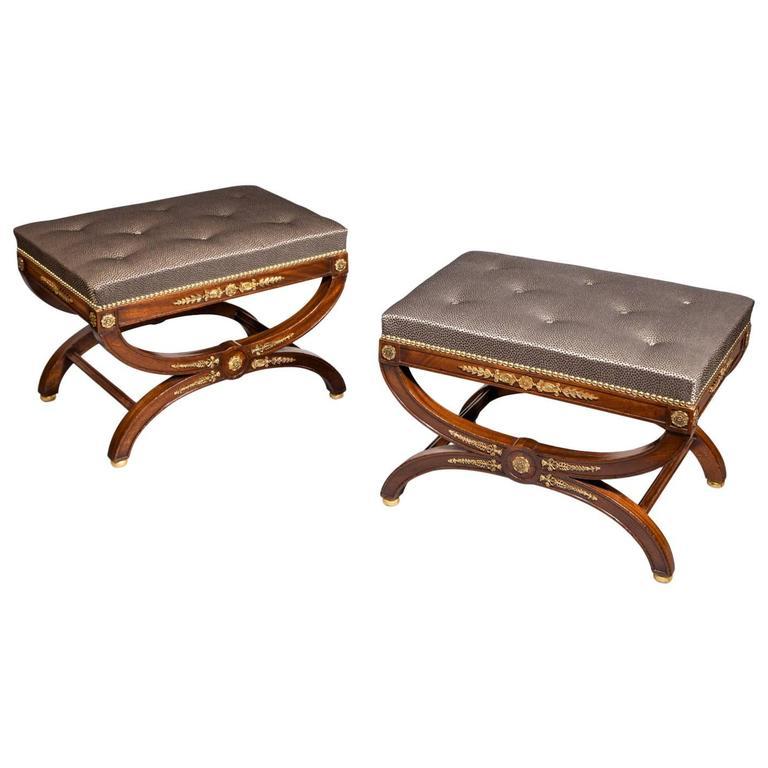 Mahogany and ormolu stools, 1870