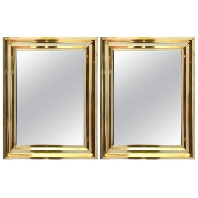 Pair of Brass Mirrors, 1970s, France