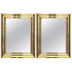 Pair of Brass Mirrors. France, 1970s