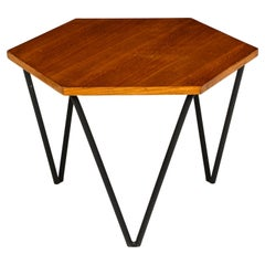 Gio Ponti Side Table by ISA, Wood and Iron, 1950s, Mid-Century, Italy