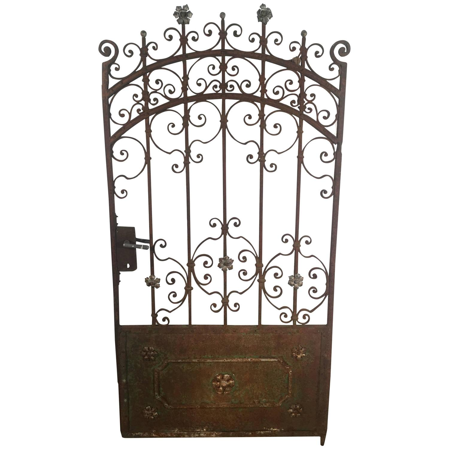 Decorative French Beaux Arts Wrought Iron Garden Gate For Sale At