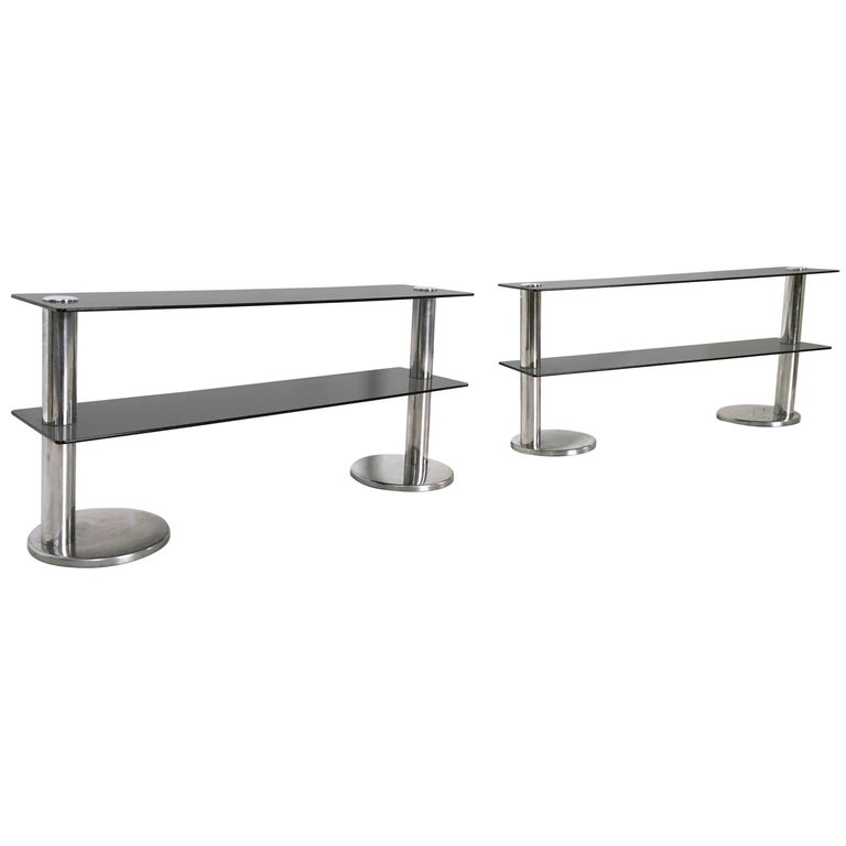 Pair of Chromed Metal and Glass Console Tables, 1970s For Sale