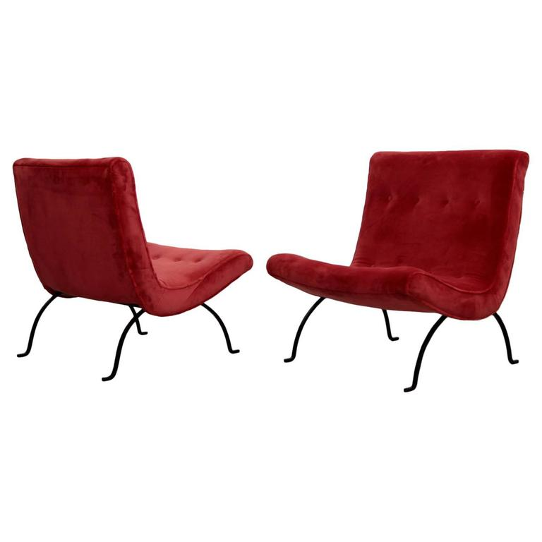 "Pair of Milo Baughman ""Scoop"" Lounge Chairs in Missoni Velvet and Wrought Iron"