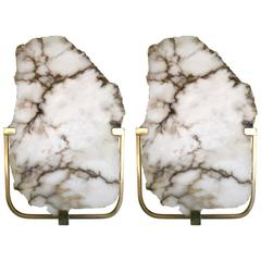Pair of Alabaster Brass Sconces, Contemporary, Italy