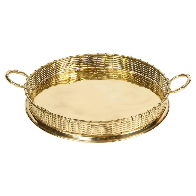 Basket Weaving Handles : Brass serving tray with basket weave rim and handles at