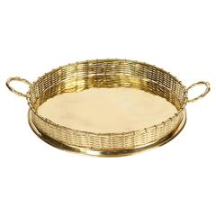 Brass Serving Tray with Basket Weave Rim and Handles