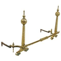 Monumental Brass Andirons with Cross Bar