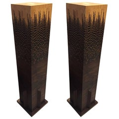 Mid-Century Pair of Wood Pedestals