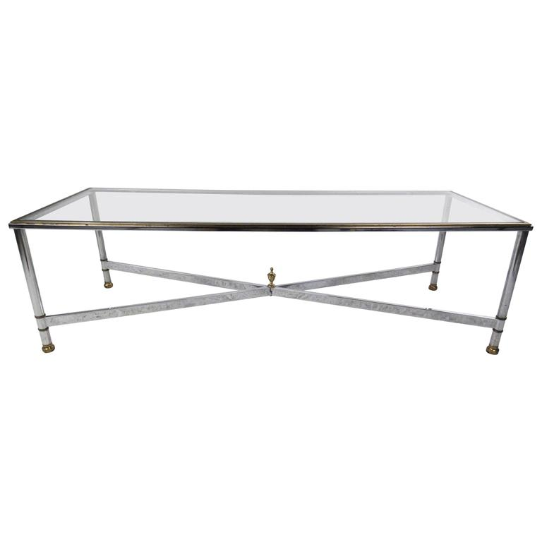 Long Mid-Century Modern Chrome and Brass Coffee Table