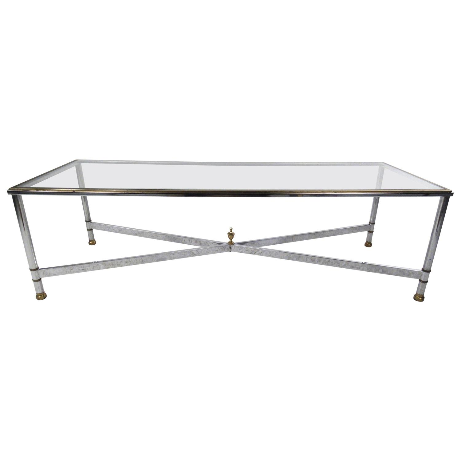 Long Mid-Century Modern Chrome And Brass Coffee Table For