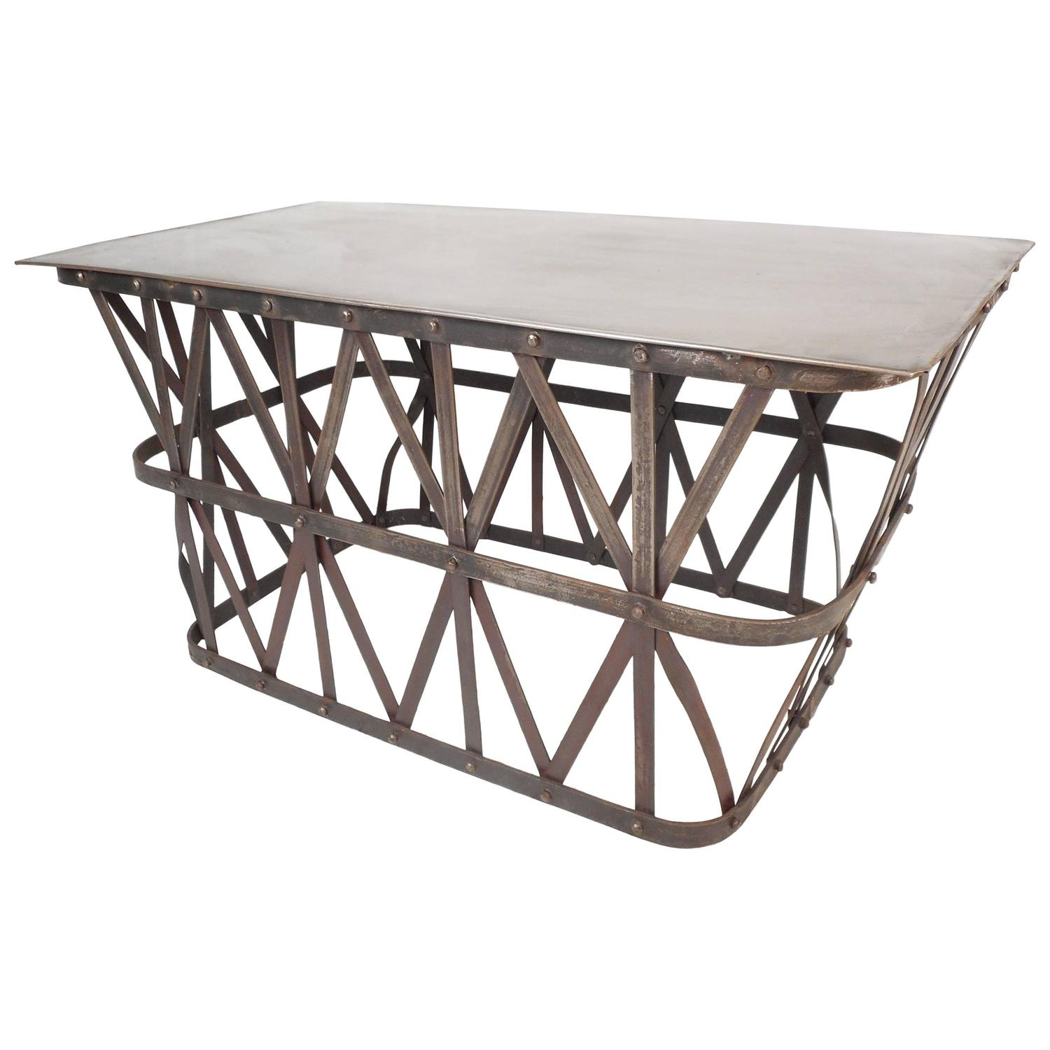 Vintage Industrial Metal Coffee Table For Sale At 1stdibs