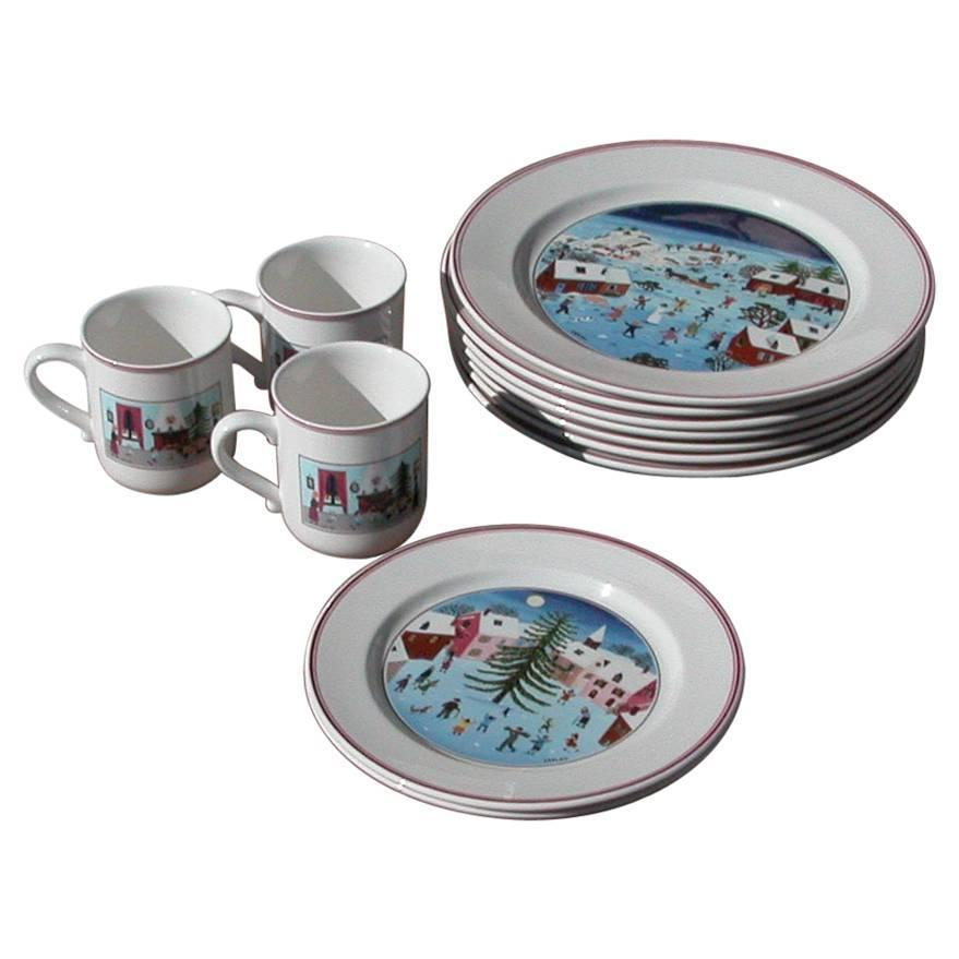 Vintage Naif Christmas Plates by Villeroy and Boch at 1stdibs