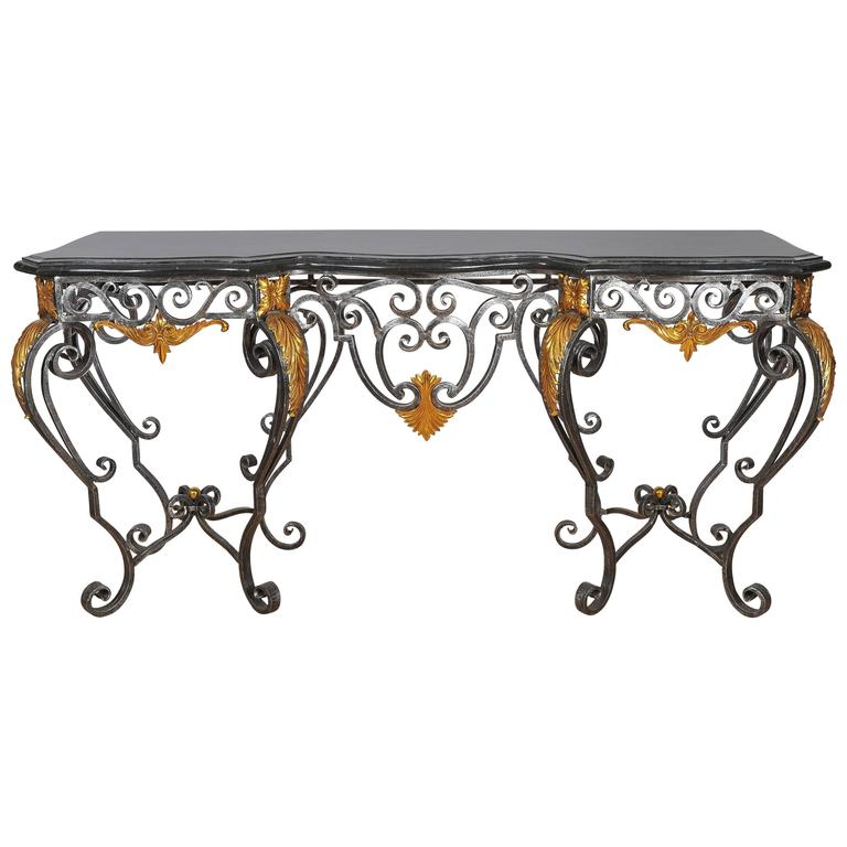 Late 20th Century Wrought Iron Console Table With Marble Faced Top For