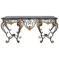 Late 20th Century Wrought Iron Console Table with Marble Faced Top