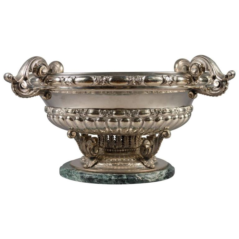 Large Italian .925 Silver Centerpiece Bowl with Four Handles & Marble Base