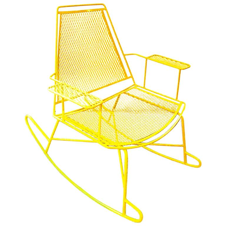 Mid century metal mesh patio rocking chair at 1stdibs for Mesh patio chairs