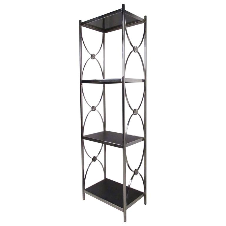 Contemporary Modern Decorative Chrome Etagere Display Shelf