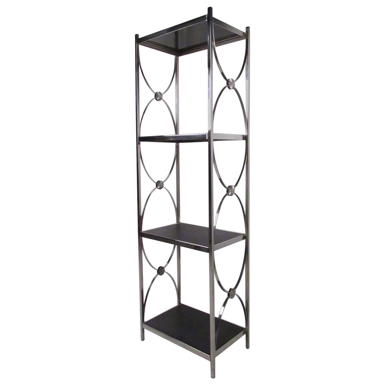 contemporary modern decorative chrome etagere display shelf for sale at 1stdibs. Black Bedroom Furniture Sets. Home Design Ideas