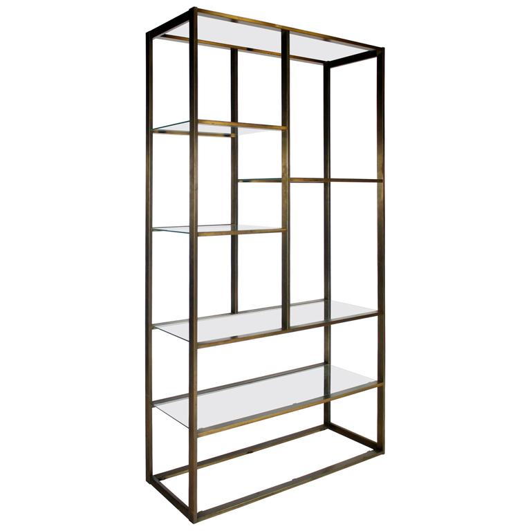 Bronze and Glass Etagere Attributed to Milo Baughman For Sale