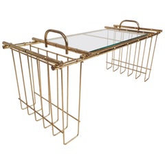 Mid-Century Modern Brass and Glass Serving Tray