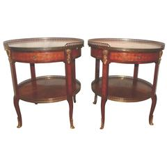 Pair of Circular French Side Tables with Ormolu, Early to Mid-20th Century