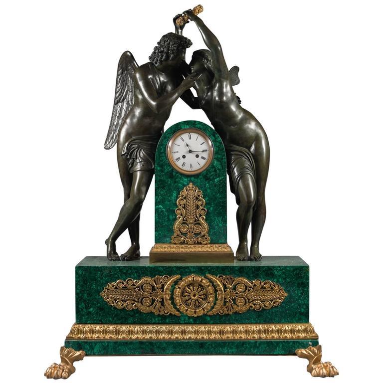 Antique Empire Style Gilt and Patinated Bronze Malachite Mantel Clock