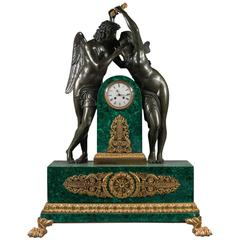Antique Empire Style Gilt and Patinated Bronze Malachite Mantel Clock