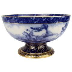 Large Aesthetic Period Flow Blue Doulton Burslem Fox Hunt Punch Bowl