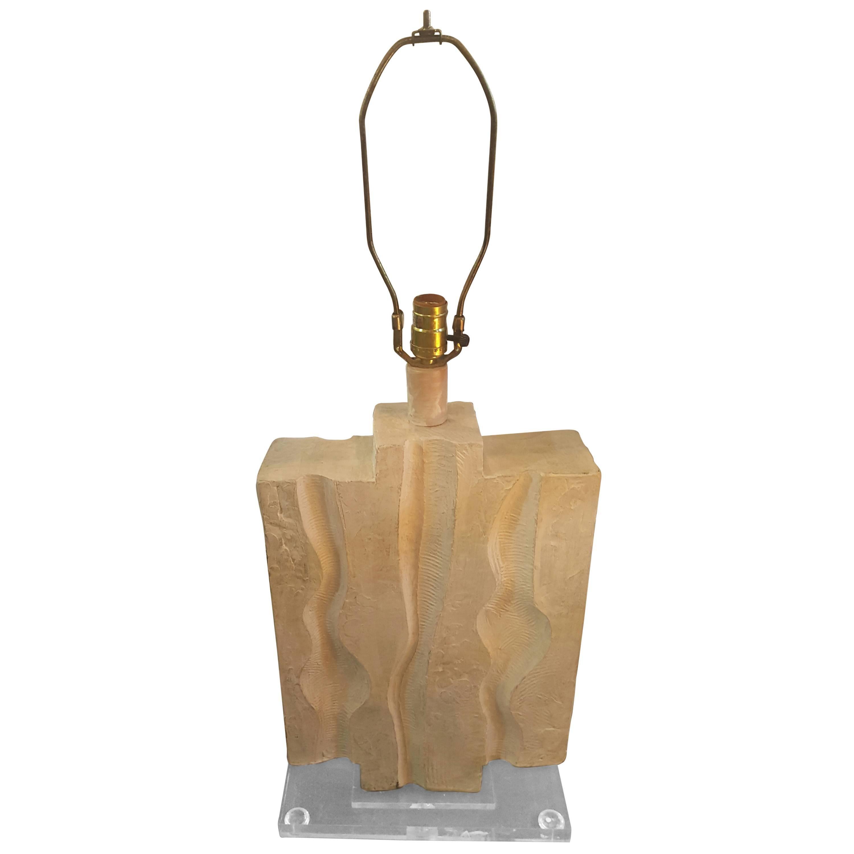 Vintage Midcentury Plaster Lamp on Lucite