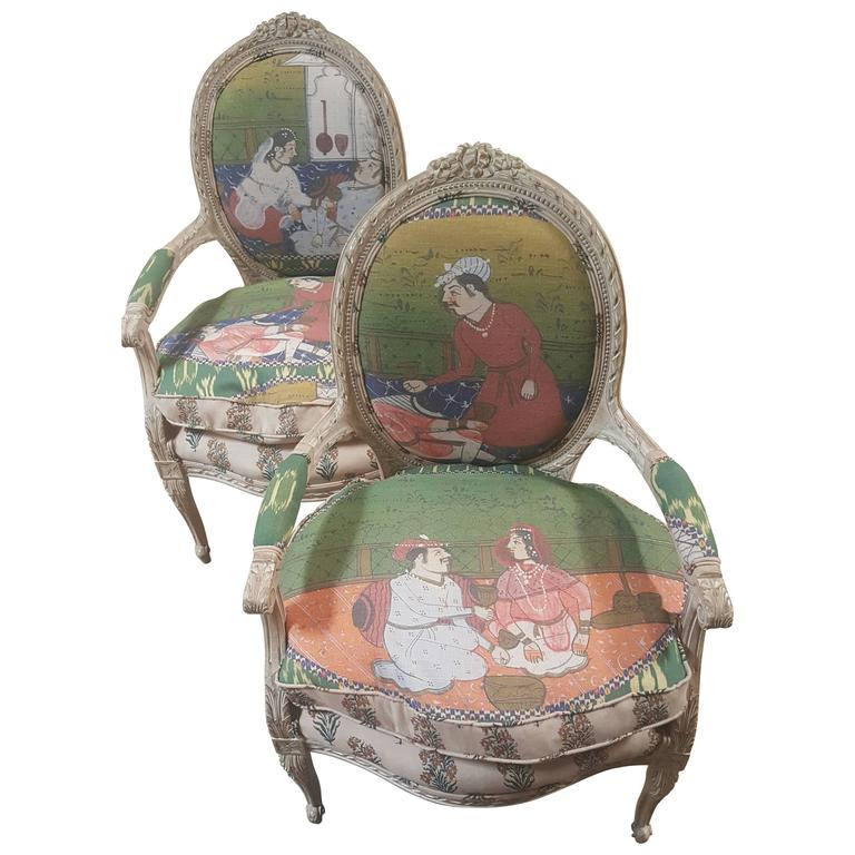 Pair of 20th Century Louis Chairs in Michelle Nussbaumer Fabric 1