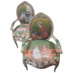 Pair of 20th Century Louis Chairs in Michelle Nussbaumer Fabric