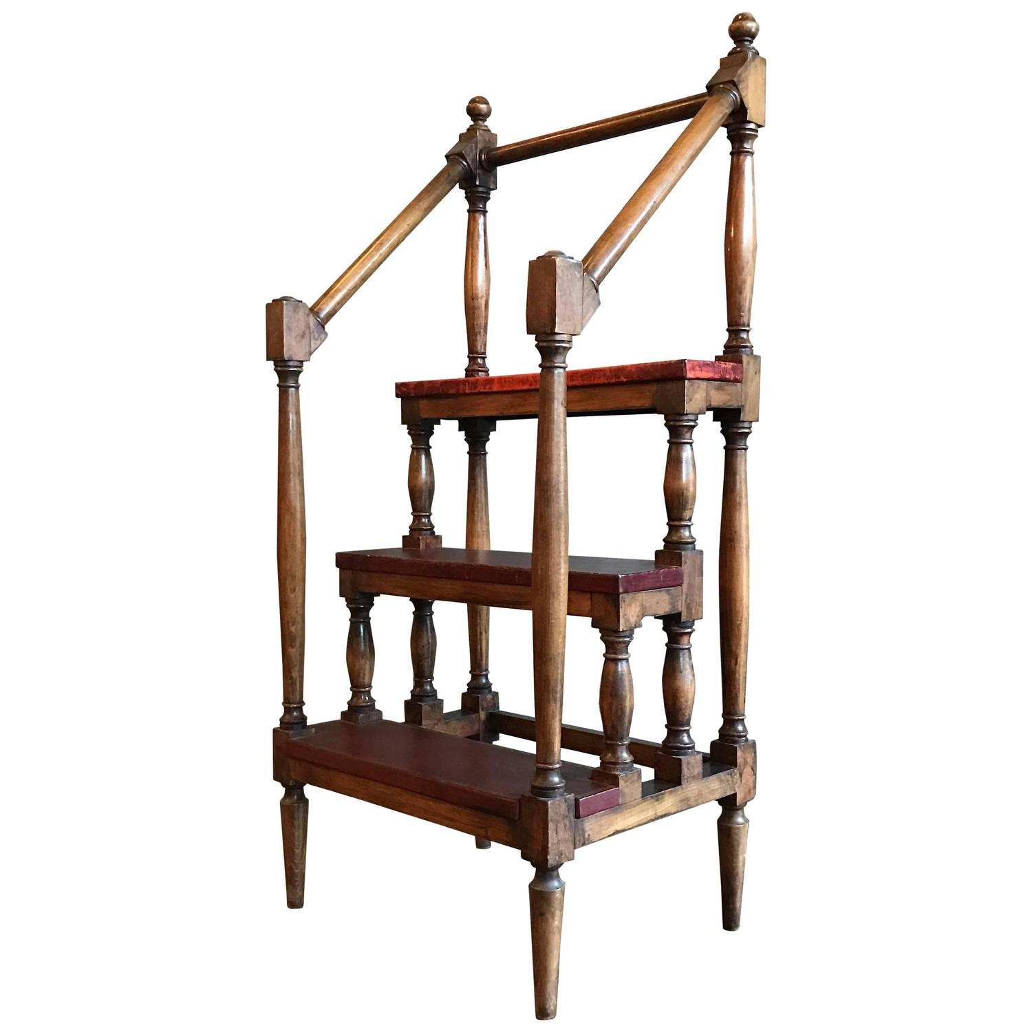 1930s Regency Style Maple Baluster Library Ladder For Sale At 1stdibs. Full resolution  pic, nominally Width 1500 Height 1500 pixels, pic with #A43627.