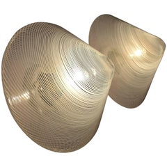 Handblown Mid century Modern Wall or Ceiling Reticello Lights Venini Style