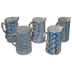 Collection of Five 19th Century Sponge Ware Pitchers