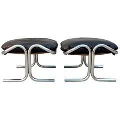 Rare Pair of Chrome and Leather Ottomans Arcadia by Jerry Johnson for Landes