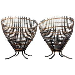 Pair of Franco Albini Organic Modern Rattan and Iron Side Tables