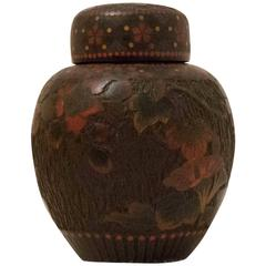 Meji Period Japanese Cloisonné Porcelain Tea Caddy Jiki Shippo with Li