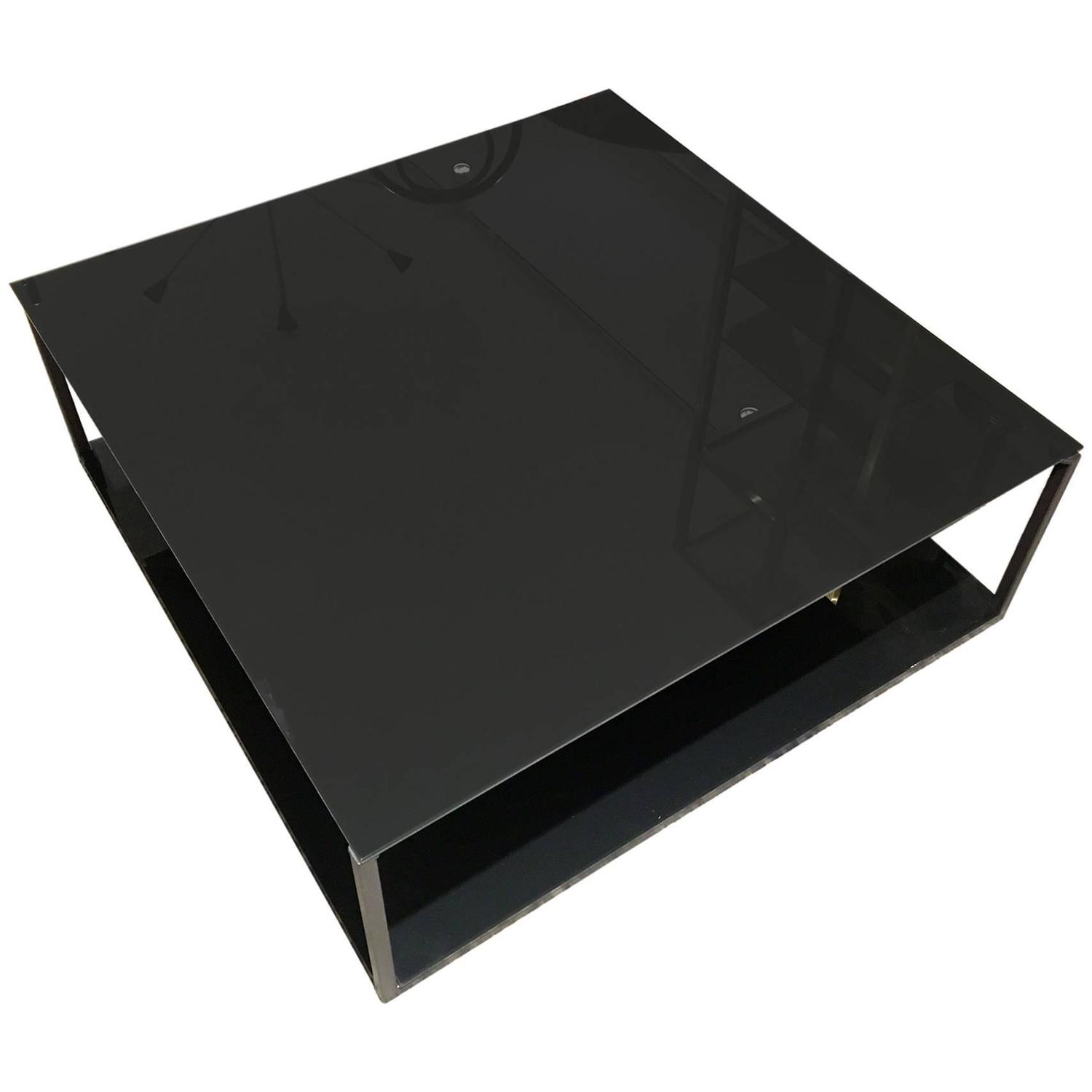 Contemporary rectangular coffee table with metal frame and for Metal frame glass coffee table