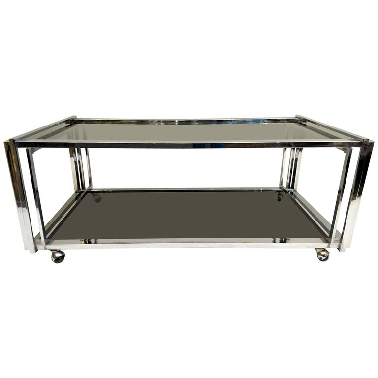 Coffee Table In Chrome And Smoked Glass Italy For Sale At