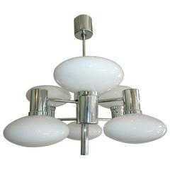 Opal Glass and Chrome Ceiling Pendant Chandelier, 1970s