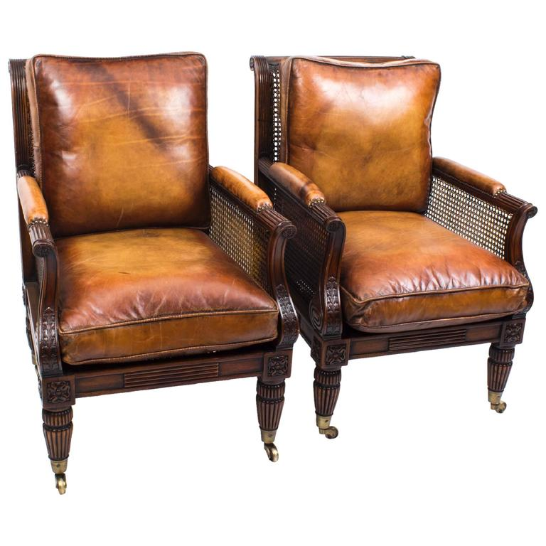 Pair of Regency Style Mahogany Bergere Armchairs For Sale