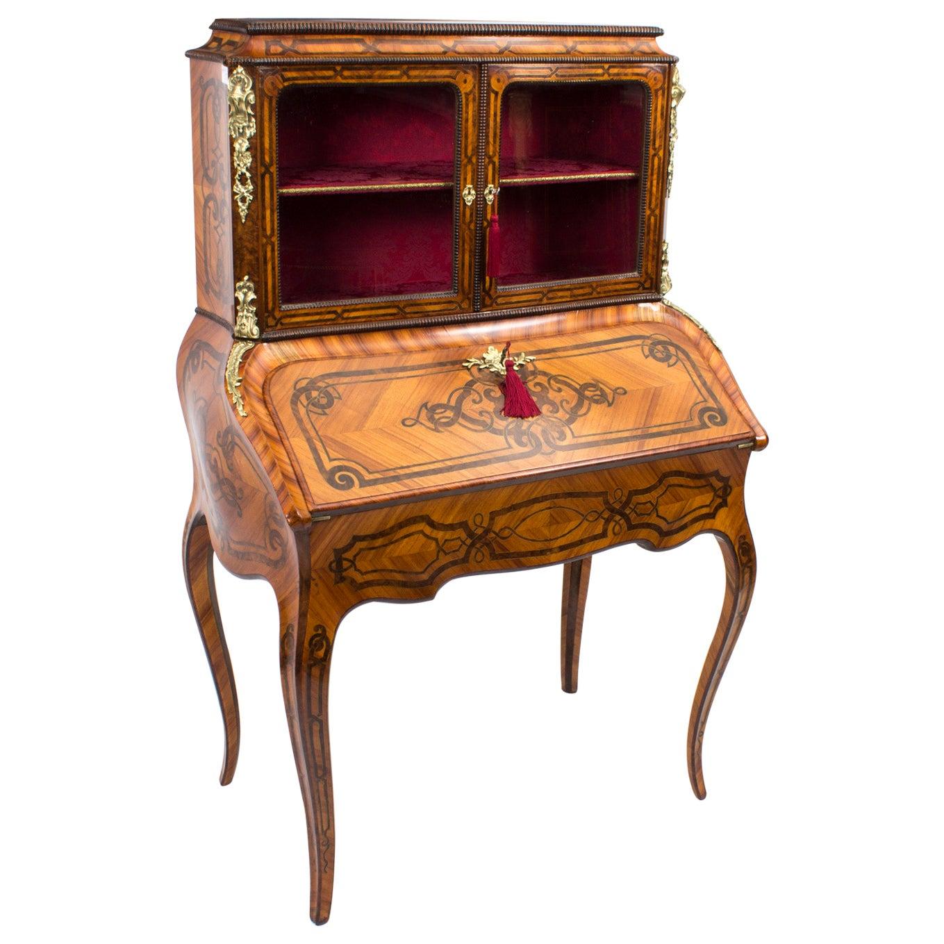 Antique French Marquetry Bonheur du Jour 19th Century