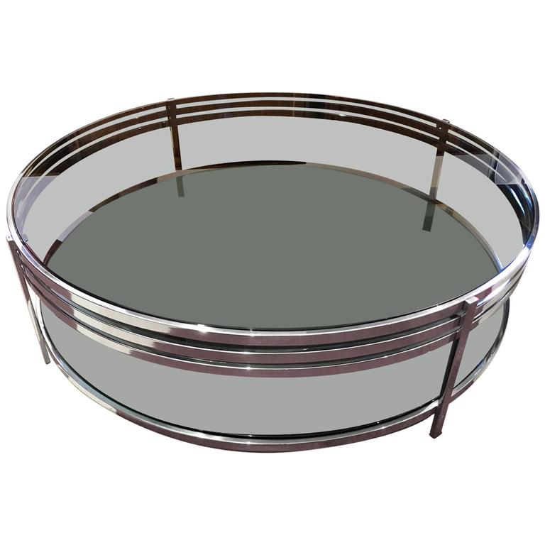 Contemporary Round Tempered Glass Coffee Table with Polished Steel Frame