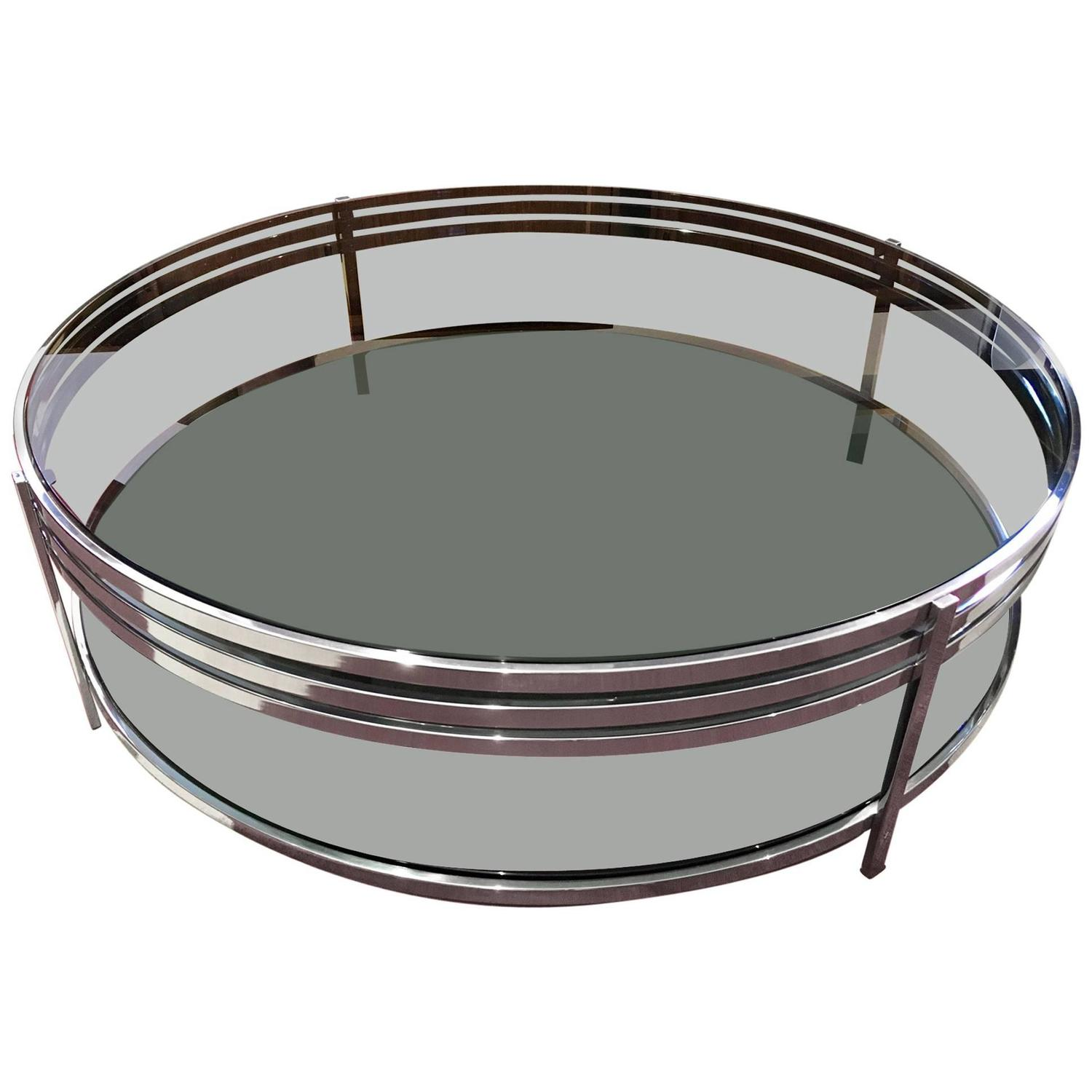 Contemporary round tempered glass coffee table with for Metal frame glass coffee table