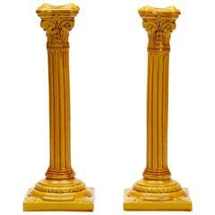 Pair of Arts & Crafts Burmantofts Column Candlesticks, circa 1895