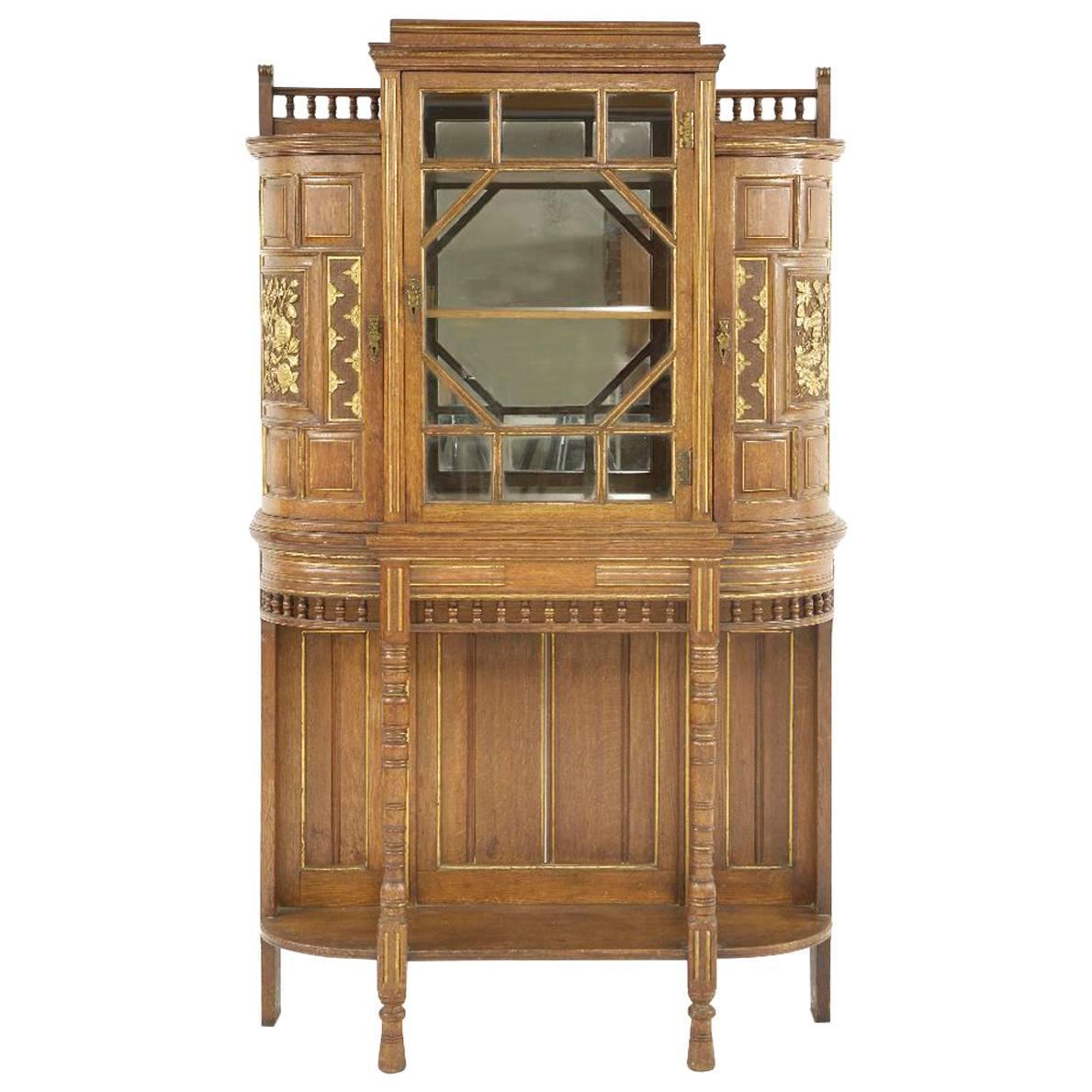 Bruce Talbert for Gillows attri, A Fine Aesthetic Movement Oak & Glazed Cabinet